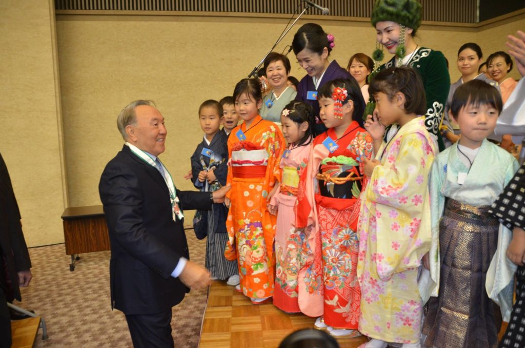 Nazarbayev's visit to Hiroshima in 2016. Photo credit: Tomiaki Kurokawa